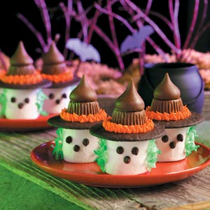 marshmallow witches - Unique Halloween Desserts